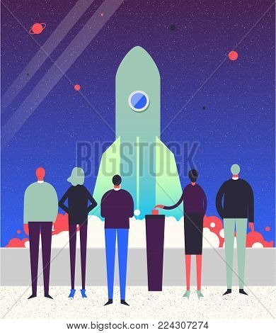 Vector stylized characters. Business illustration. Start up concept. Rocket launch