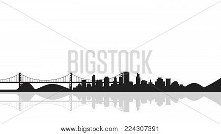 Cityscape background with bridge,silhouette of city. Vector illustration in flat style design. Buildings silhouettes,urban landscape