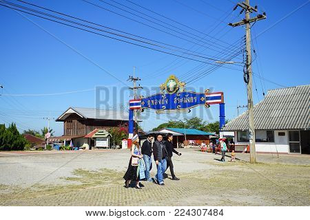 CHIANG RAI, THAILAND - December 22, 2017: Asian tourist in Phu Long Thung village in Chiang Rai, Thailand. This place is the popular attraction for Chiang Rai trip.