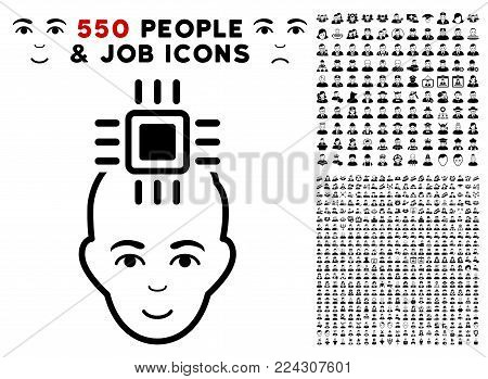 Neuro Interface pictograph with 550 bonus pitiful and glad jobs clip art. Vector illustration style is flat black iconic symbols.