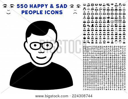 Pensioner pictograph with 550 bonus sad and glad person pictograms. Vector illustration style is flat black iconic symbols.
