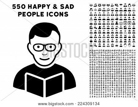 Reader pictograph with 550 bonus pitiful and happy people design elements. Vector illustration style is flat black iconic symbols.