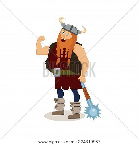 Viking cartoon character. A muscular fat boastful red-bearded man armed with a mace with spikes. Vector illustration. Flat style.