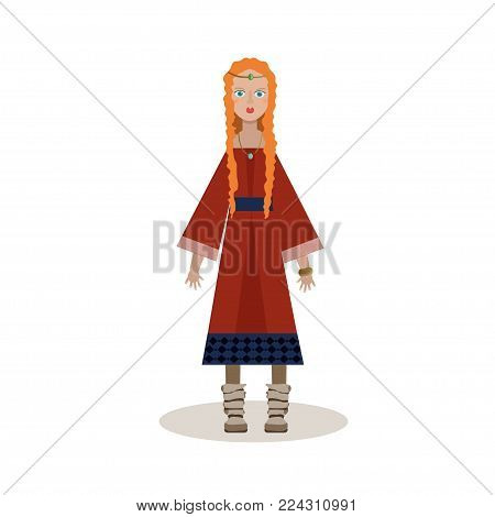 Viking cartoon character. Notable woman viking in a long dress, necklace. Vector illustration. Flat style.