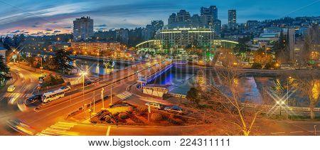 SOCHI, RUSSIA - JANUARY 28, 2018: Evening lights near the Sochi River