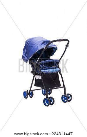 Blue pushchair isolated on white background