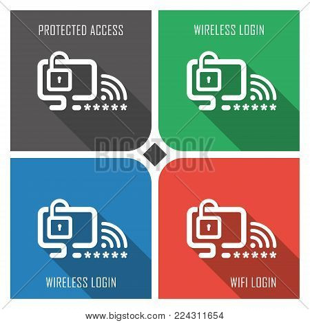 protected wifi flat vector icon on colorful background. simple PC web icons eps8. on layers.