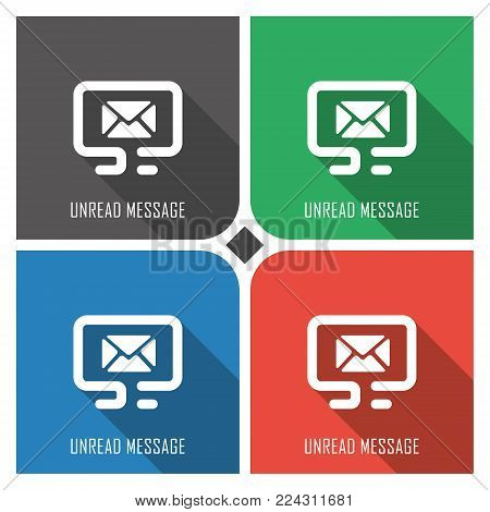unread message flat vector icon on colorful background. simple PC web icons eps8. on layers.