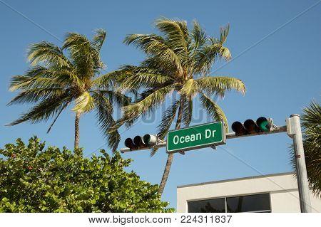 Street signal and semaphore at Ocean Drive, South beach
