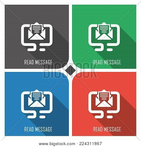 read message flat vector icon on colorful background. simple PC web icons eps8. on layers.