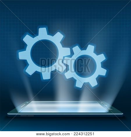Gears on the smartphone screen. Search engine optimization and Internet technology. Stock vector illustration.