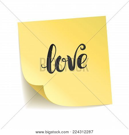 Note yellow sticker i love you. Happy Valentines day, heart symbol. Typography logo on stick background. Paper shadow, notice board. Sticky message, graphic text. Transparent backdrop.