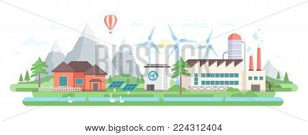 Eco-friendly factory - modern flat design style vector illustration on white background. A composition with a big plant, solar panels, windmills, pond with geese, trees, mountain, low-storey buildings