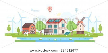 Eco-friendly farm with pond - modern flat design style vector illustration on white background. A composition with a village with small buildings, trees, windmills, pond, cow, solar panels, geese