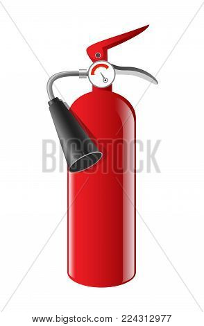 Fire extinguisher - realistic vector isolated object on white background. High quality clip art for presentations, banners, visual aids, instructions. Firefighting equipment, tool