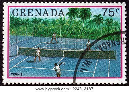 GRENADA - CIRCA 1976: a stamp printed in Grenada shows tenis, tourist publicity, circa 1976