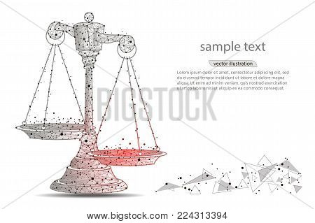 Scales of justice. Abstract design of scales, in the form of lines and dots on a white background with space for text.low poly wireframe on white background. polygonal image.Vector illustration
