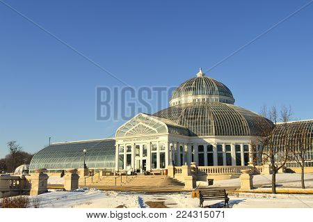 SAINT PAUL, MINNESOTA: January 2018- Como Conservatory in St. Paul, MN during the winter.