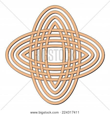 Celtic knot in circle. Brown geometric knotwork