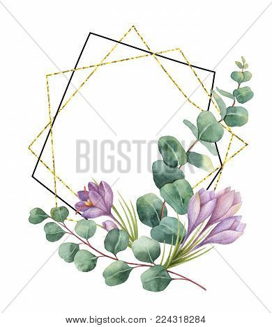 Watercolor composition from the branches of eucalyptus, flowers of saffron and gold geometric frame. Spring or summer flowers for invitation, wedding or greeting cards.
