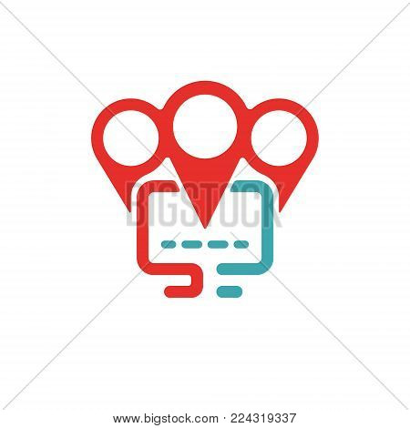 Vector illustration of PC and map pointer icon. Red and blue pc icon on white background. PC pictogram and geolocation. Laptop icon in two colors