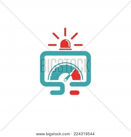 Vector illustration of PC and ful power icon. Rad alarm on white background. PC pictogram and emergency symbol. Laptop icon and ful pover two colors.