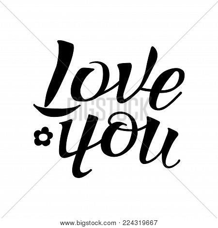Letters hand drawing for love themes. Word love, you. Color black. Happy in love mood