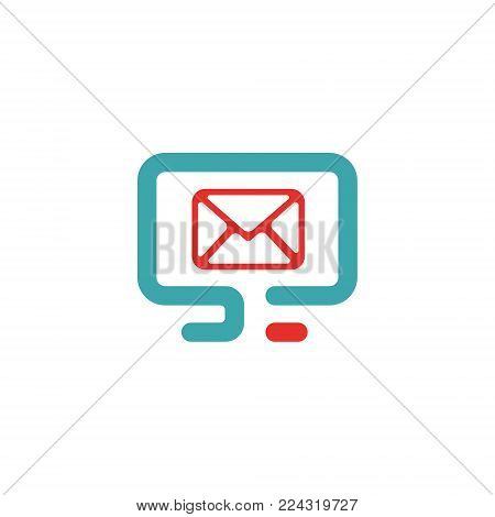 Vector illustration of PC and mail icon. Rad and blue pc icon on white background. PC pictogram and mail vector. Laptop and message icon in two colors