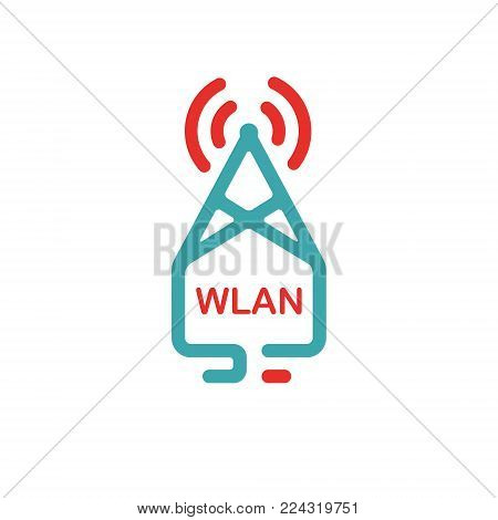 Wlan tower vector illustration. Rad and blue wlan icon on white background. Wi-fi tower. Colored wi-fi symbol.