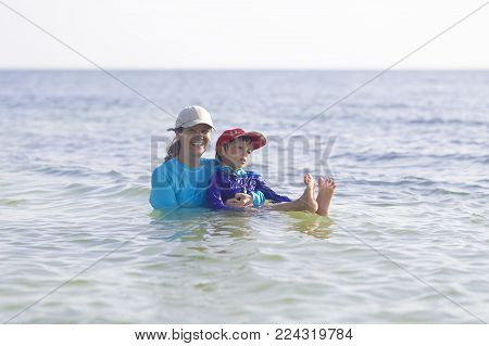 Summertime, Happy Mother And Son Having Fun