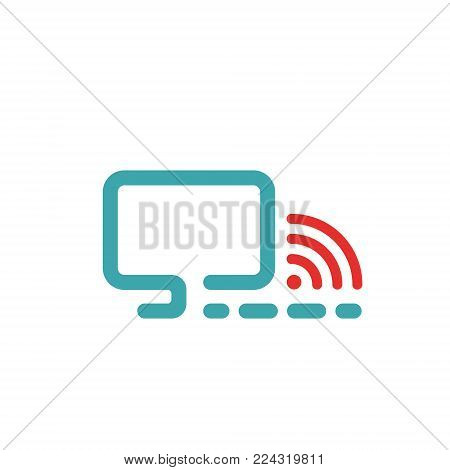 Wireless Network Symbol. Vector illustration of pc and wlan icon. Wlan icon in two colors. Red and blue wi-fi icon.