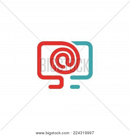Vector illustration of PC and e-mail icon. Rad and blue mail icon on white background. PC pictogram and mail icon . Laptop icon in two colors