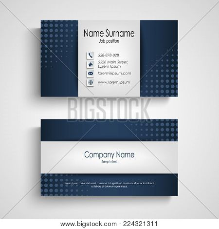 Business card with blue halfone effect template vector eps 10