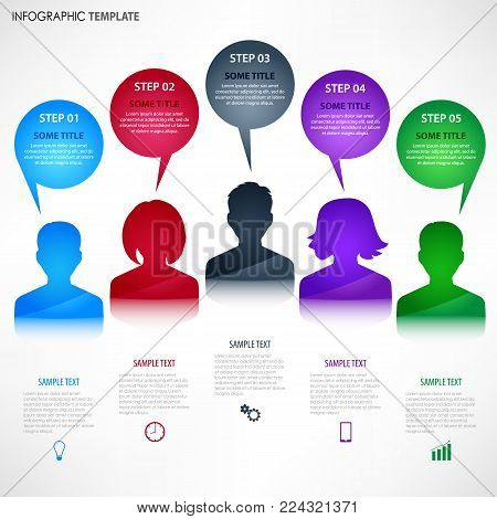 Info graphic with colored avatar and talking bubbles template vector eps 10