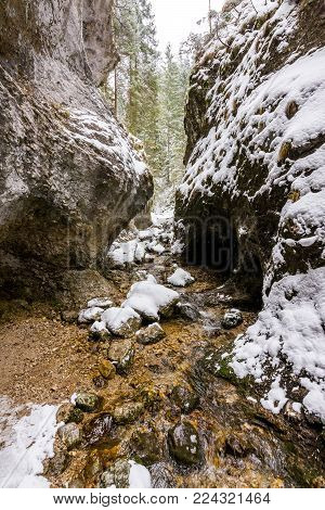 Slovakia National Park Mala Fatra, Janosikove Diery, Path In The Forest, Snow And Winter.