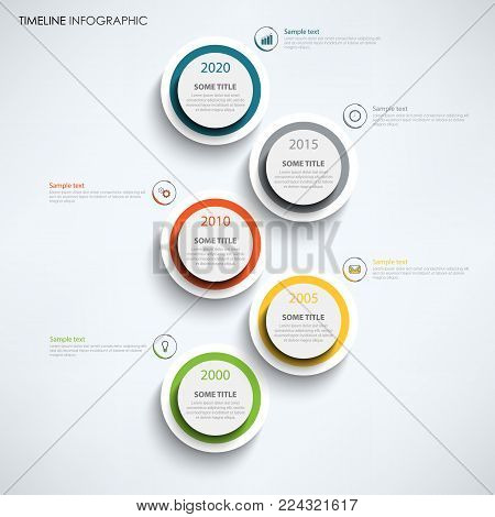 Time line info graphic with large design color circles template vector eos 10