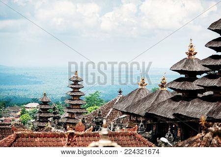 Temples In Pura Penataran Agung Besakih Complex, The Mother Temple Of Bali Island, Indonesia. Green