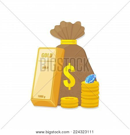 Gold bullion, a stack of coins, diamond and money bag. Capital, banking, investment concept. Vector illustration
