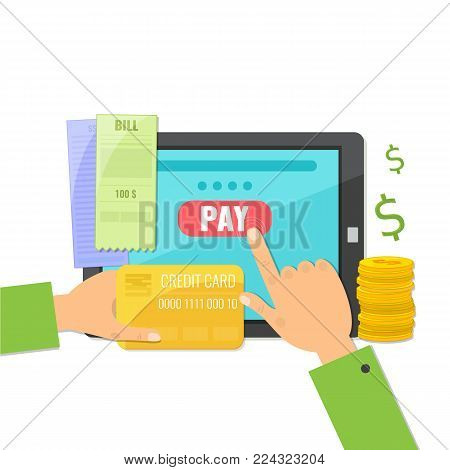 Mobile payment concept. Paying bills online on tablet computer. Vector illustration.