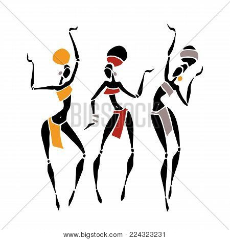 African American dancers. Dancing woman in traditional ethnic style. Vector Illustration.