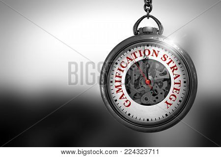 Gamification Strategy on Pocket Watch Face with Close View of Watch Mechanism. Business Concept. Business Concept: Watch with Gamification Strategy - Red Text on it Face. 3D Rendering.
