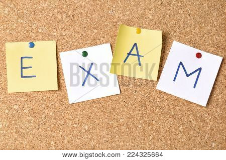Paper stickers with word EXAM on corkboard