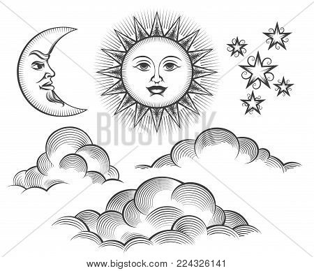 Sun, moon and clouds engraving. Retro scratching or engraved moon and sun celestial faces vector illustration in vintage style