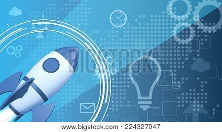 the launch of a rocket with icons on background, concept of startup (3d render)