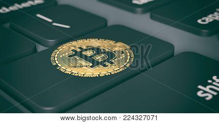 closeup view of a bitcoin symbol over a computer keyboard (3d render)