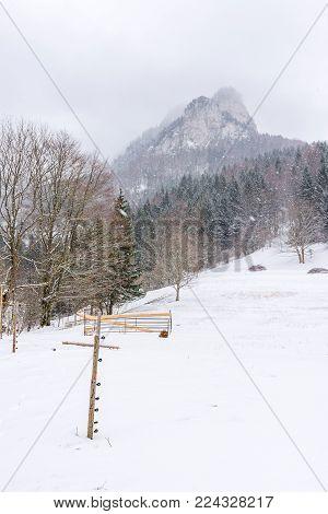 Slovakia National Park Mala Fatra, Janosikove Diery, Terchova Village. Paths In The Frost, Winter. H