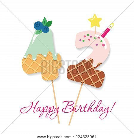 Happy Birthday card. Festive sweet numbers 42. Coctail straws. Funny decorative characters. Vector illustration