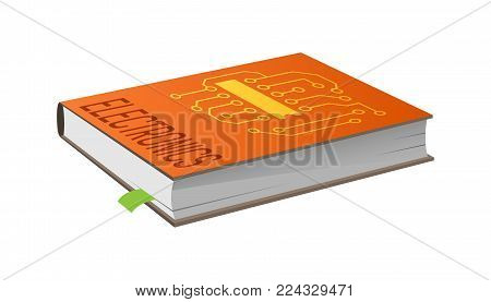 Book on electronics with bookmark vector illustration isolated on white. Closed textbook about principles of electricity work, technical engineering