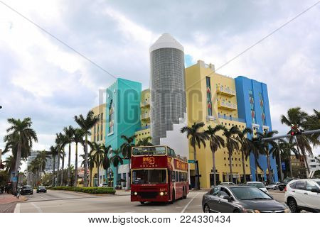 MIAMI BEACH, FLORIDA / USA - JANUARY 7, 2017:  Sightseeing options abound in the art deco town of Miami Beach.  This shows the art deco architecture in South Beach.