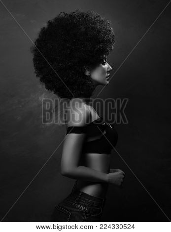 black and white photo on which girl with a European look with a beautiful make-up in and a lush African hairdress stands sideways lifting her chin.